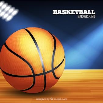 Fondo de balón de baloncesto y focos