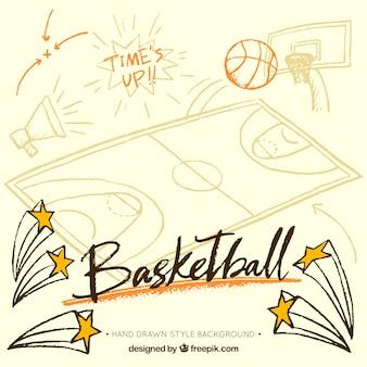 Fondo de baloncesto con artículos dibujados a mano