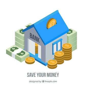 Fondo de banco con ahorros