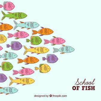Fondo de banco de peces coloridos en estilo hecho a mano