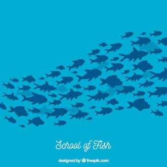 Fondo de banco de peces en estilo hecho a mano