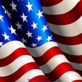 Fondo de bandera americana ondeando realista