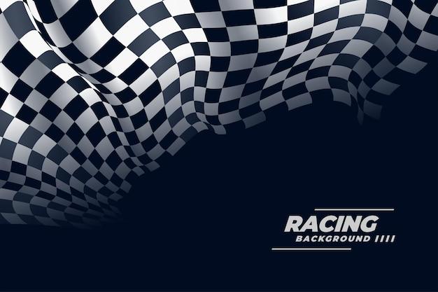 Fondo de bandera de carreras a cuadros realista 3d