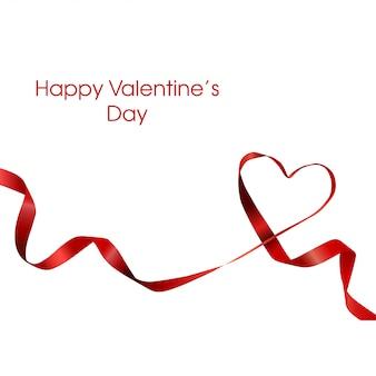 Fondo de la bandera de la cinta de la cinta del amor del corazón del día de tarjetas del día de san valentín