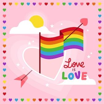 Fondo de bandera del día del orgullo con corazones