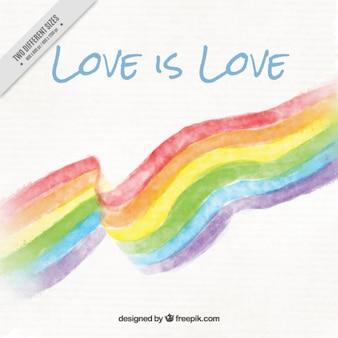 Fondo de bandera del día del orgullo con una frase del amor