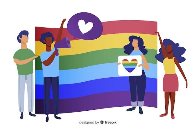 Fondo de bandera del día del orgullo lgbt