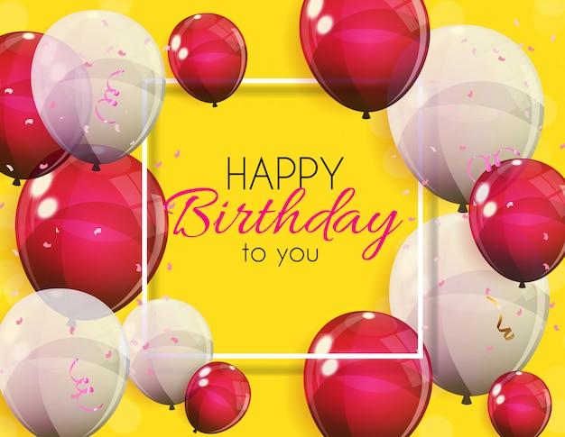Fondo de bandera de globos de feliz cumpleaños color brillante