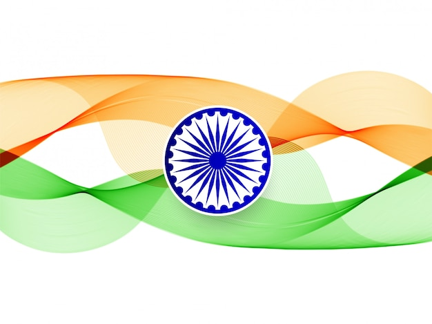 Fondo de bandera india ondulado elegante moderno