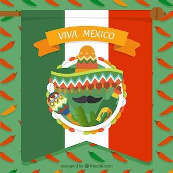 Fondo de bandera de mexico con cactus