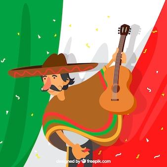 Fondo de bandera de mexico con hombre