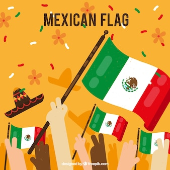 Fondo de bandera de mexico con multitud