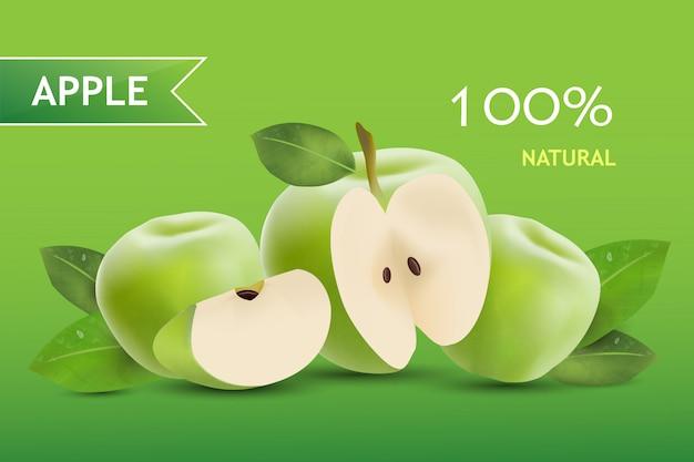 Fondo de bandera realista de manzanas verdes