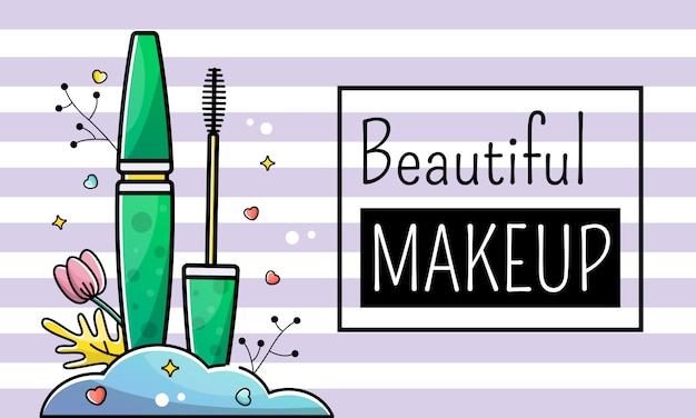 Fondo de la bandera del rimel del maquillaje de la belleza