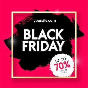Fondo de bandera roja abstracta de venta de viernes negro. etiqueta de compras de pincelada negra dibujada a mano.