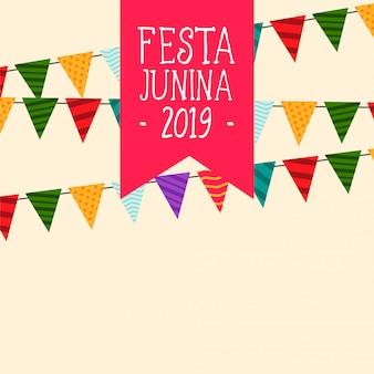 Fondo de banderas de fiesta junina decorativos