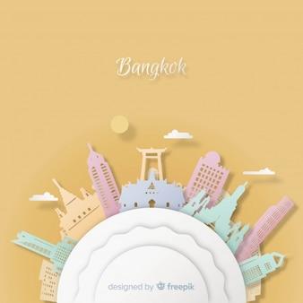 Fondo de bangkok con estilo de arte con papel