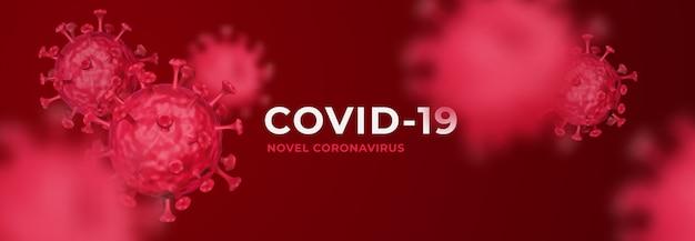 Fondo de banner 3d de coronavirus covid-19