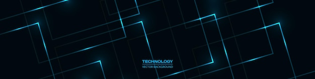 Fondo de banner ancho abstracto de tecnología negra con líneas luminosas azules y reflejos.