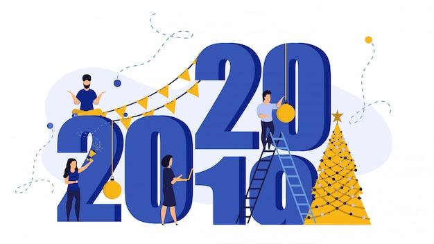 Fondo de banner de año nuevo 2020