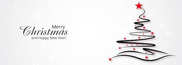 Fondo de banner de árbol de navidad creativo dibujado a mano