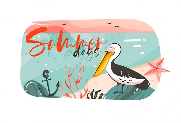 Fondo de banner de arte de ilustraciones gráficas de horario de verano de dibujos animados abstractos dibujados a mano con paisaje de playa oceánica, vista del atardecer rosa, pájaro pelícano y cita de tipografía de días de verano en blanco