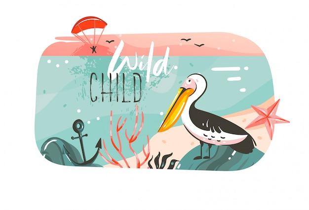 Fondo de banner de arte de ilustraciones de horario de verano de coon dibujado a mano con paisaje de playa oceánica, vista del atardecer rosa, pájaro pelícano y cita de tipografía de wild child en blanco