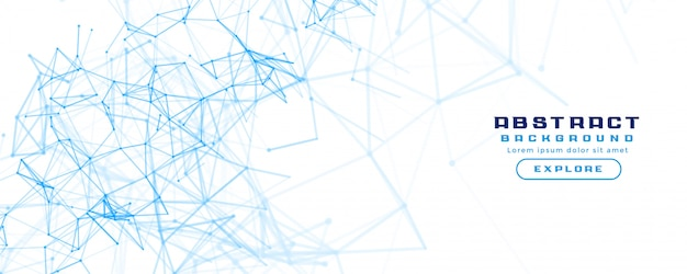 Fondo de banner blanco con diagrama de malla de red abstracta