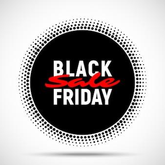 Fondo de banner de círculo de venta de viernes negro. ilustración.