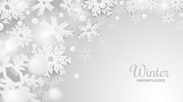 Fondo de banner de copos de nieve de invierno moderno