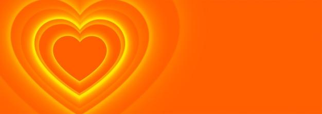 Fondo de banner de corazones naranja