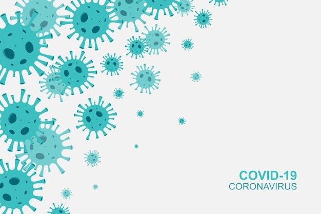 Fondo de banner de coronavirus con virus microscópicos. ilustración vectorial.