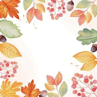 Fondo de banner cuadrado de marco de guirnalda de hojas de otoño otoño acuarela