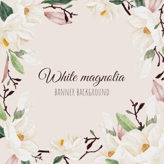 Fondo de banner cuadrado de ramo de rama de flor de magnolia blanca acuarela
