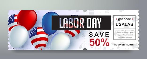 Fondo de banner de cupón de promoción de regalo de día del trabajo de estados unidos. bono elegante del día del trabajo.