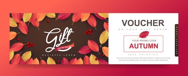 Fondo de banner de cupón de promoción de regalo de otoño. vale de otoño elegante.