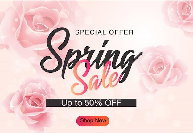 Fondo de banner de descuento de venta de primavera