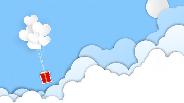 Fondo de banner del día de san valentín con globo de corazón y nubes