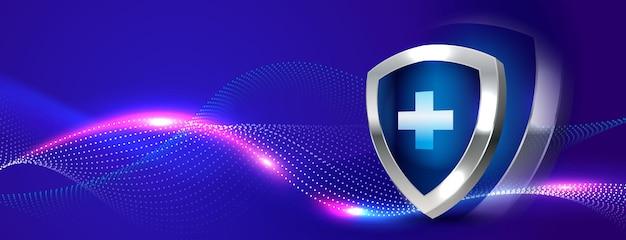 Fondo de banner de escudo protector médico