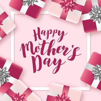 Fondo de banner de feliz día de las madres con regalos realistas