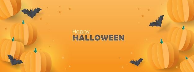 Fondo de banner de feliz halloween con murciélagos de papel y calabazas.