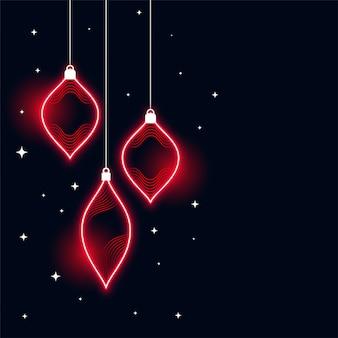 Fondo de banner de feliz navidad de estilo neón