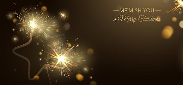 Fondo de banner de feliz navidad con estrellas en forma de bengala y efectos de luz.