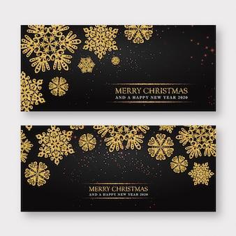 Fondo de banner de feliz navidad negro y dorado