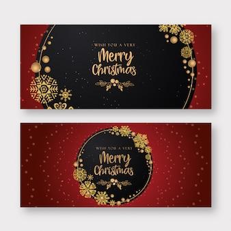 Fondo de banner de feliz navidad rojo y dorado