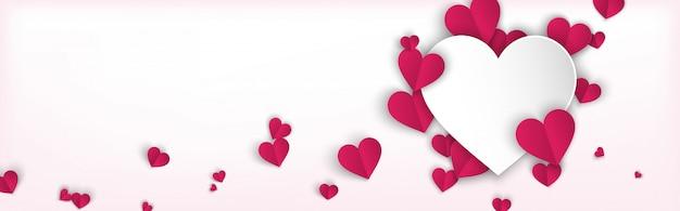 Fondo de banner horizontal con corazones de color rosa estilo de corte de papel