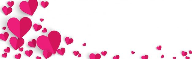 Fondo de banner horizontal de san valentín con corazones de color rosa estilo de corte de papel