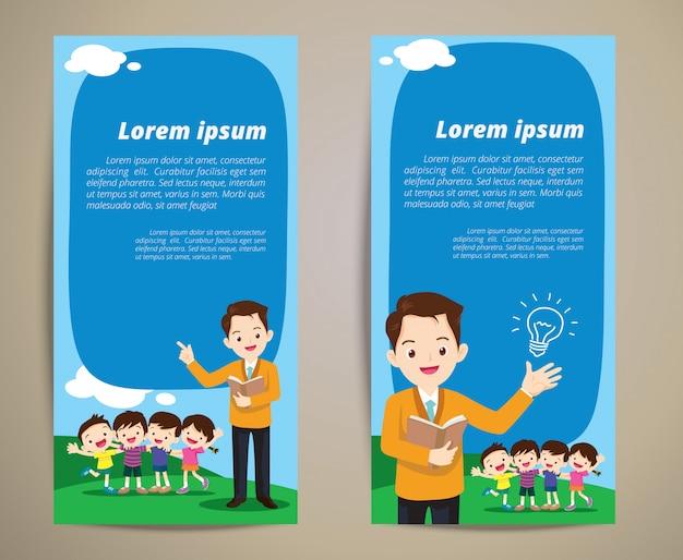 Fondo de banner de niños de educación maestro