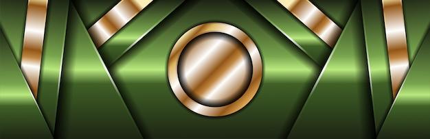 Fondo de banner oscuro de lujo con líneas verdes y plateadas
