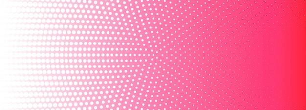 Fondo de banner de patrón de semitono circular rosa y blanco abstracto